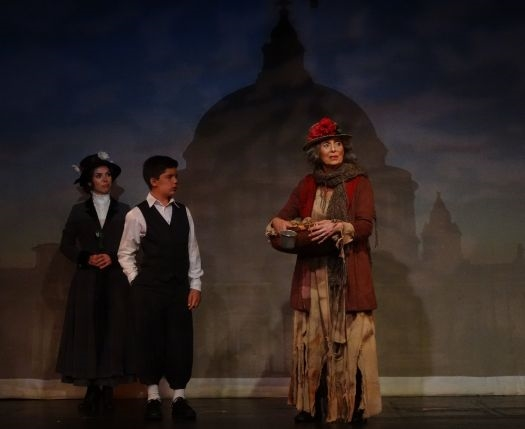 Sarah Giggar as Mary Poppins, Javier Gonzalez as Michael Banks, and Gail Yudain as The Birdwoman. Photo: Curtain Call