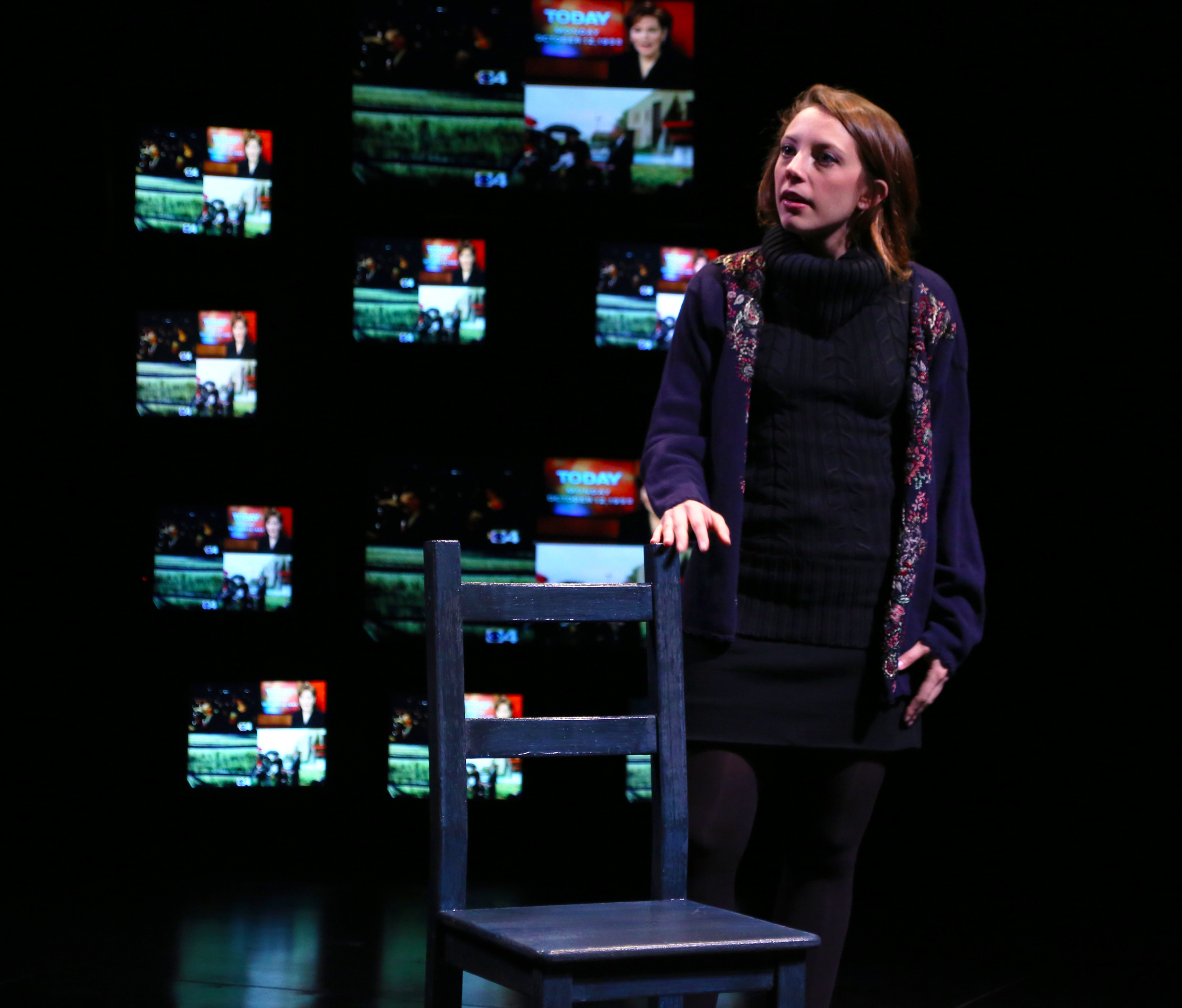 BFA Acting senior Susannah Resnikoff in THE LARAMIE PROJECT by Moisés Kaufman and the members of Tectonic Theatre Project onstage in Connecticut Repertory Theatre's Nafe Katter Theatre from October 8-18, 2015.  Tickets and Info at crt.uconn.edu.  Photo by Gerry Goodstein.""