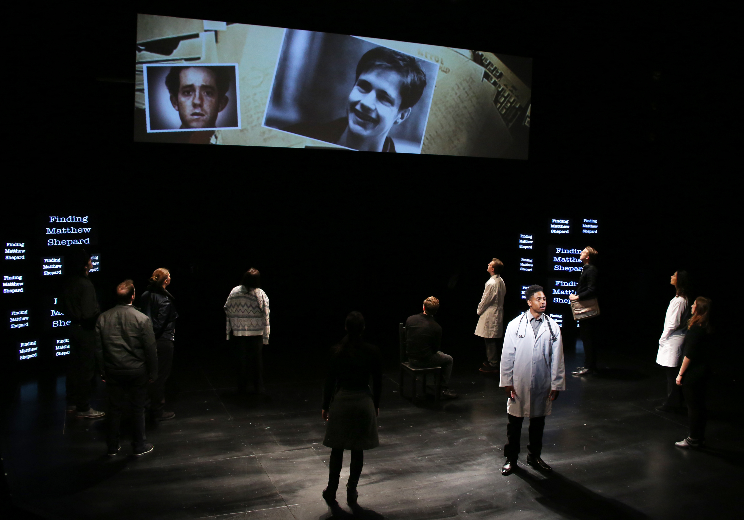 """THE LARAMIE PROJECT by Moisés Kaufman and the members of Tectonic Theatre Project onstage in Connecticut Repertory Theatre's Nafe Katter Theatre from October 8-18, 2015.  Tickets and Info at crt.uconn.edu.  Photo by Gerry Goodstein."