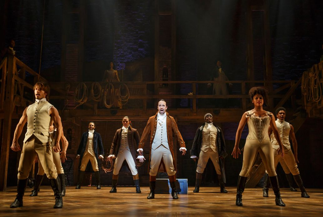 Lin-Manuel Miranda (center) with the cast of 'Hamilton,'  Joan Marcus