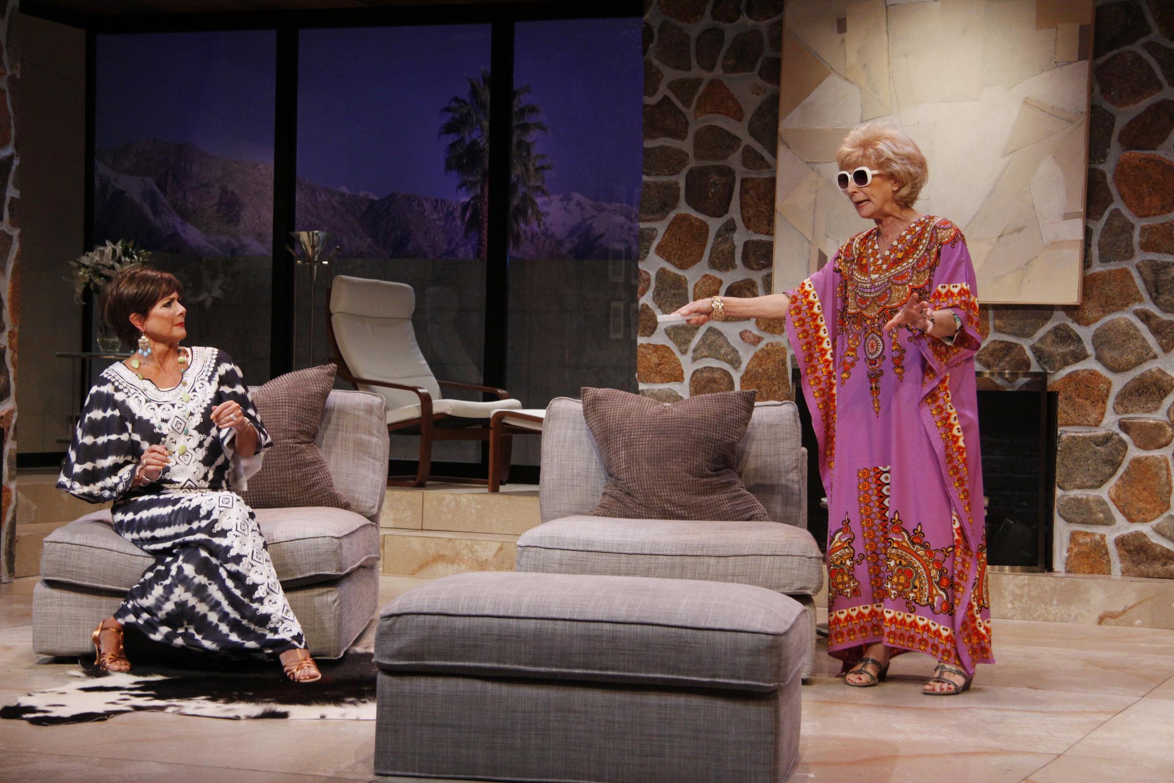 Top photo: left COLLEEN ZENK as Polly, PEGGY J SCOTT as Silda /photo credit: SUE COFLIN/MAX PHOTOS