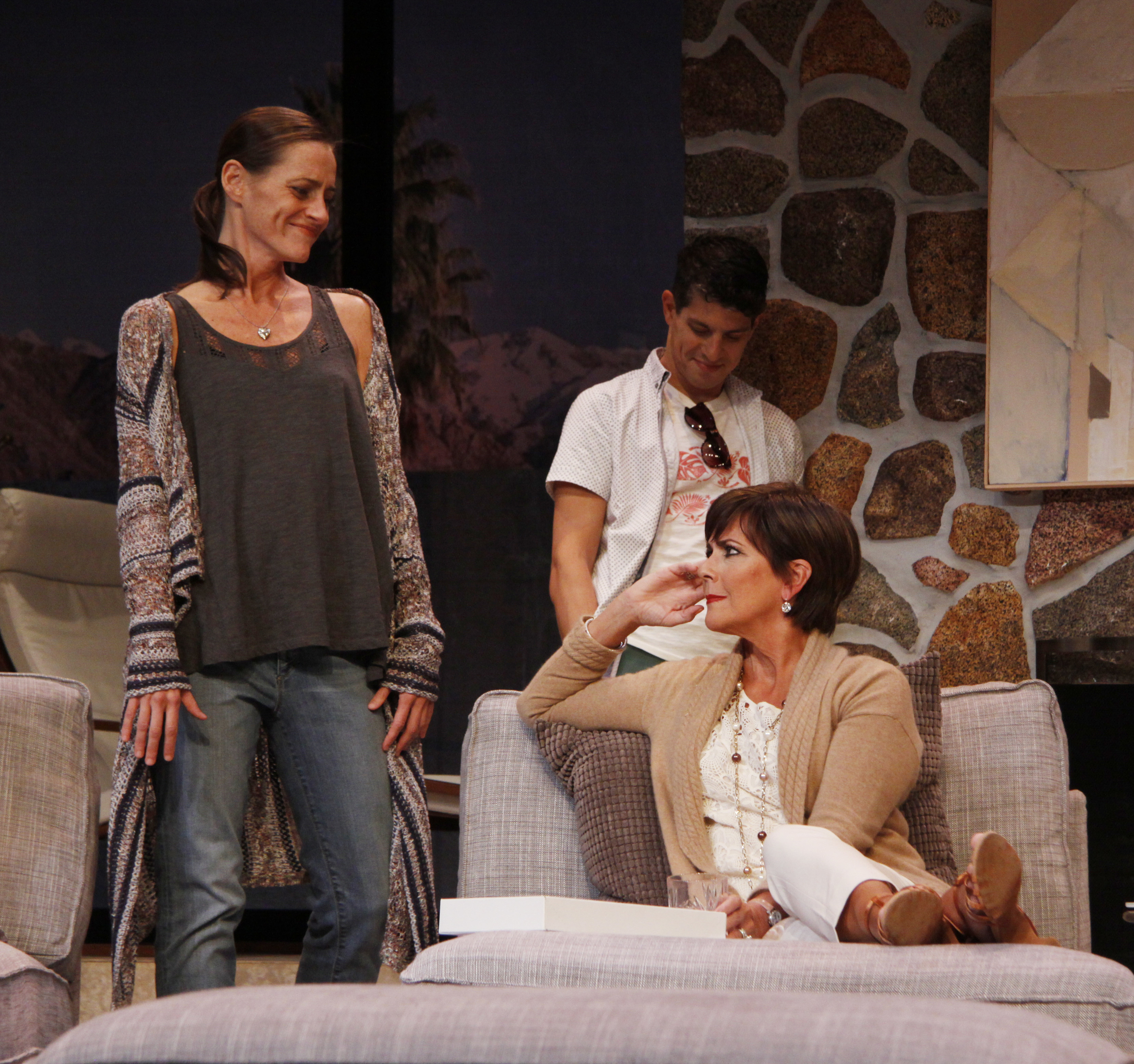 left BRENDA WITHERS as Brooke, center DAVEY RAPHAELY as Trip, front right COLLEEN ZENK as Polly /photo credit: SUE COFLIN/MAX PHOTOS