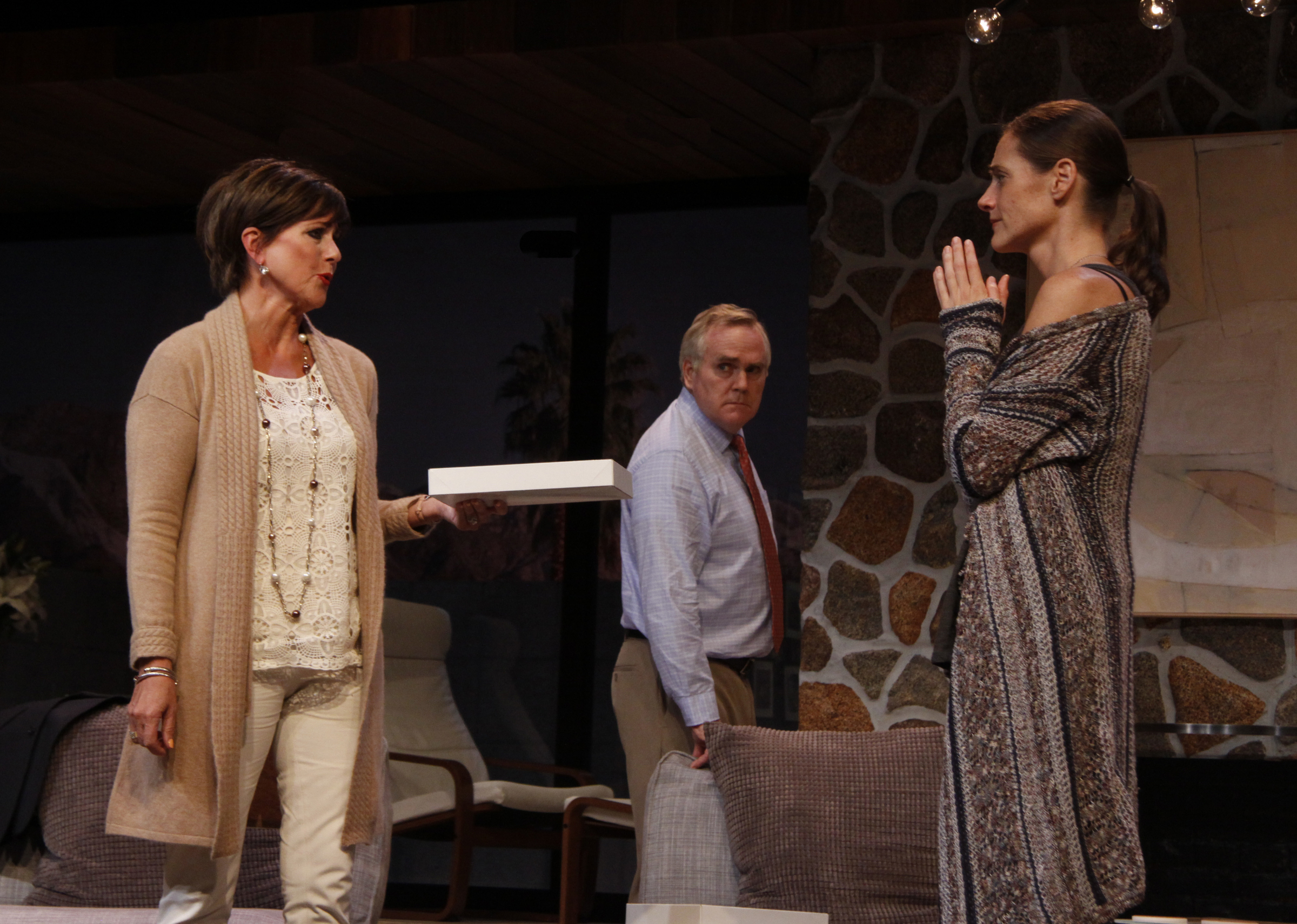 left COLLEEN ZENK as Polly, center MALACHY CLEARY as Lyman, right BRENDA WITHERS as Brooke /photo credit: SUE COFLIN/MAX PHOTOS