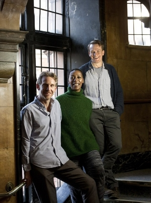 L-R Paul Thornley (Ron Weasley), Noma Dumezweni (Hermione Granger) and Jamie Parker (Harry Potter) at the Palace Theatre.