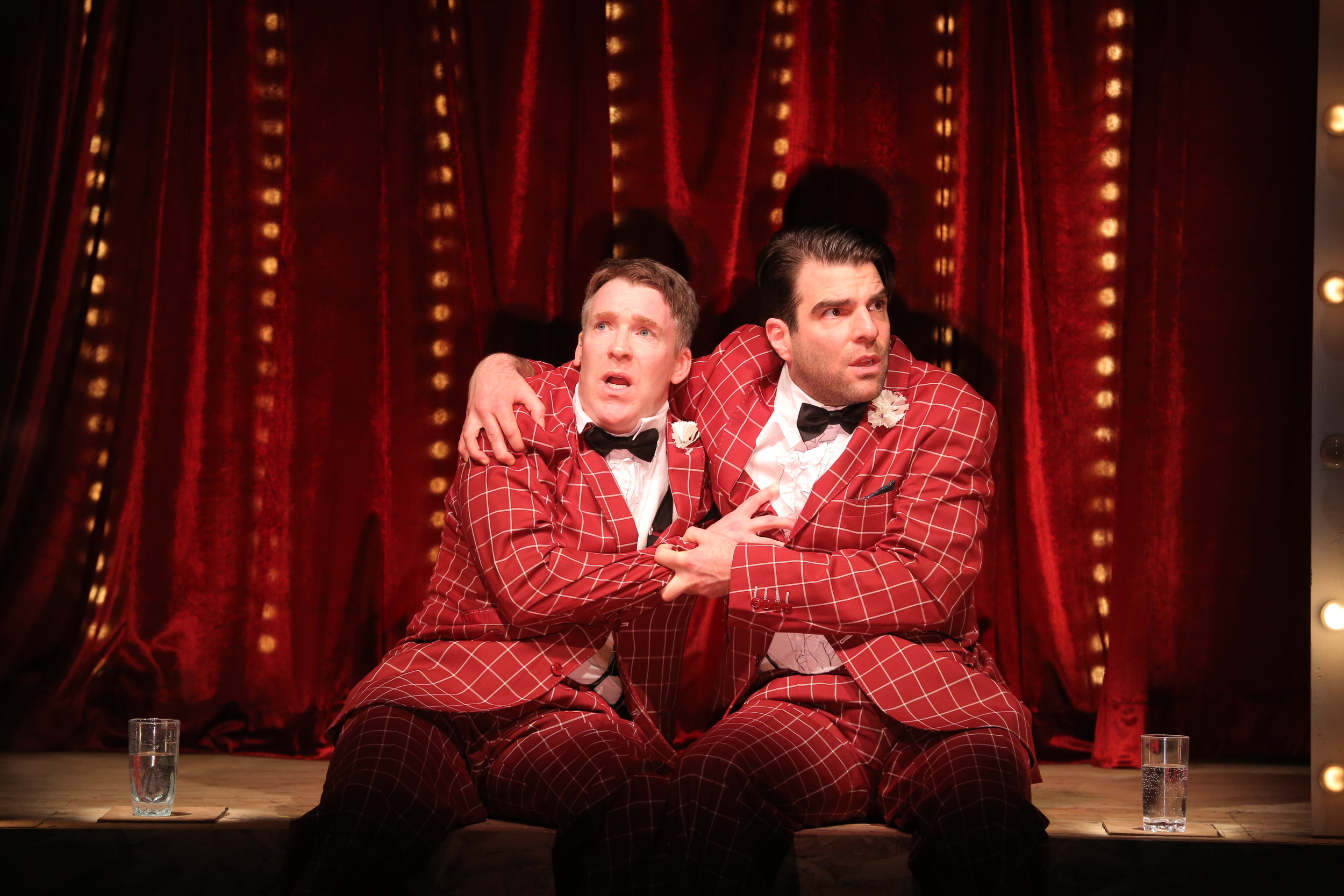 "Brian Hutchison and Zachary Quinto in a scene from ""Smokefall."" Photo by Joan Marcus"