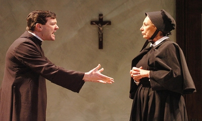 Rod Brogan and Lucy Martin in the production of Doubt at Syracuse Stage