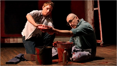 "Eddie Redmayne, left, as an artist's assistant, and Alfred Molina as Mark Rothko in ""Red."" Credit Sara Krulwich/The New York Times"