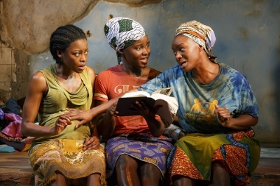 """(L-R). Pascale Armand, Lupita Nyong'o, and Saycon Sengbloh in a scene from Danai Gurira's """"Eclipsed"""", directed by Liesl Tommy. (Photo by Joan Marcus)"""