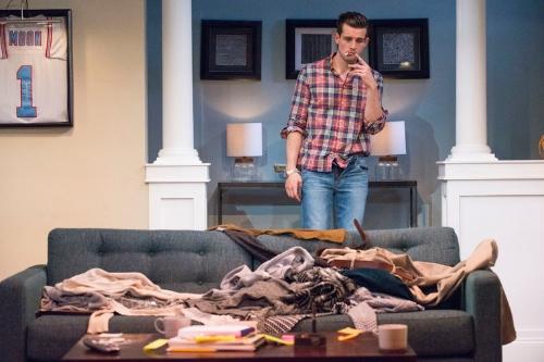 "Nico Tortorella stars in Jordan Jaffe's play ""Crude,"" at Theater 511 at Ars Nova. Credit Jenny Anderson"