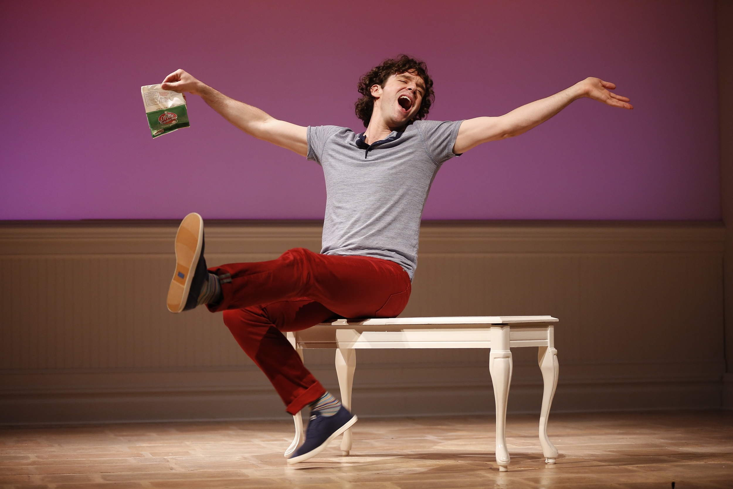 """Michael Urie in """"Buyer & Cellar,"""" written by Jonathan Tolins, and directed by Stephen Brackett, at Westport Country Playhouse, now playing through July 3. (203) 227-4177. www.westportplayhouse.org   Photo by Carol Rosegg"""