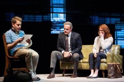 Ben Platt, Michael Park, Jennifer Laura Thompson in Dear Evan Hansen Photo: Margot Schulman
