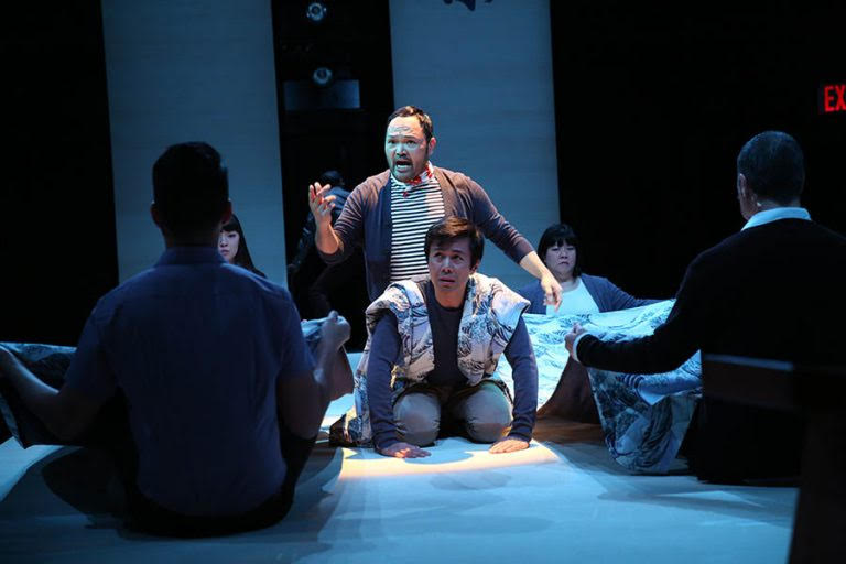 Orville Mendoza and cast in Pacific Overtures (photo by Joan Marcus)