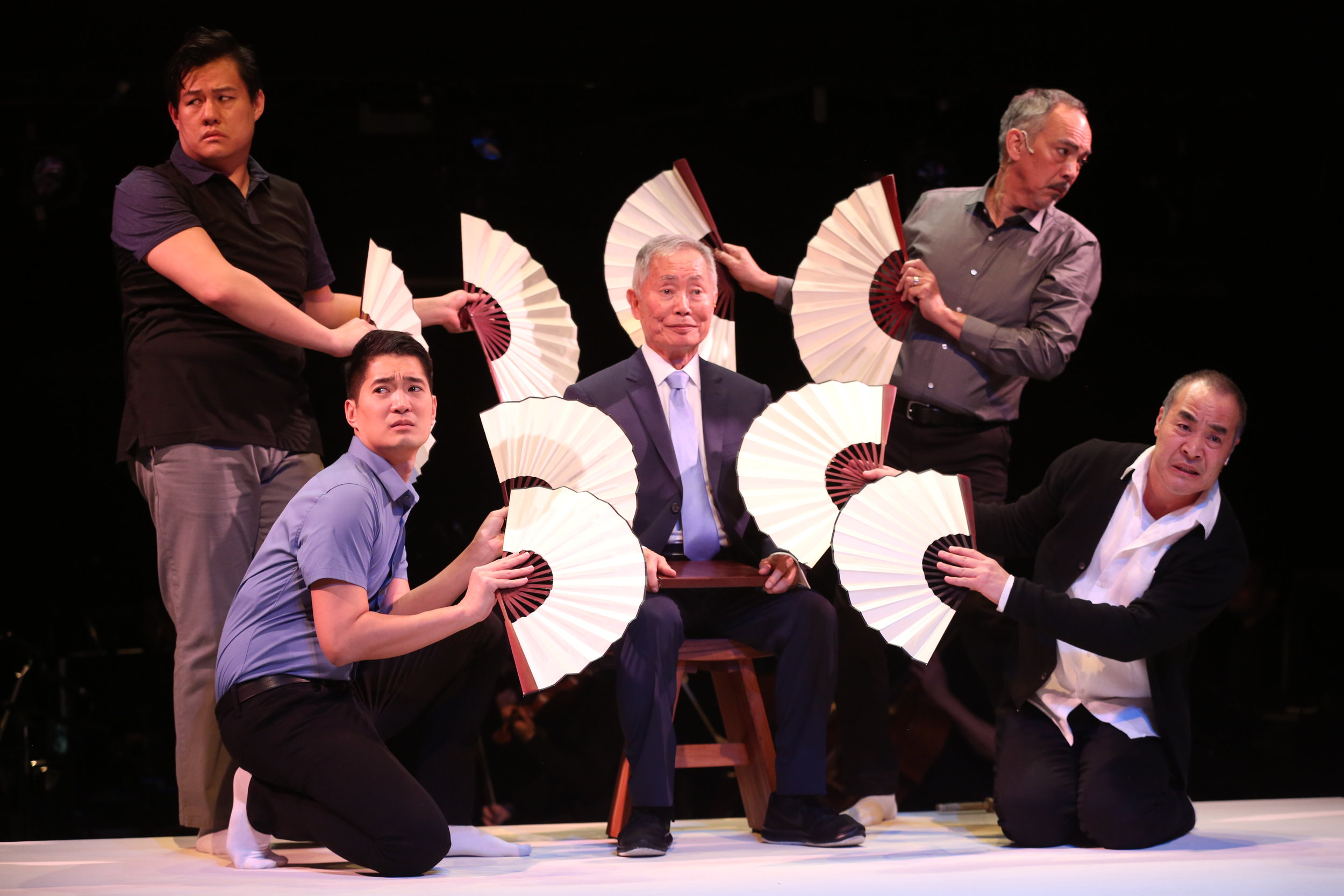 Kelvin Moon Loh, Austin Ku, George Takei, Marc Oka and Thom Sesma in  Pacific Overtures (photo by Joan Marcus)
