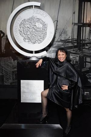Baayork wearing designer Malan Breton at the 'Designed To Celebrate: A Toast To The 2017 Tony Awards Creative Arts Nominees' June 1, 2017.