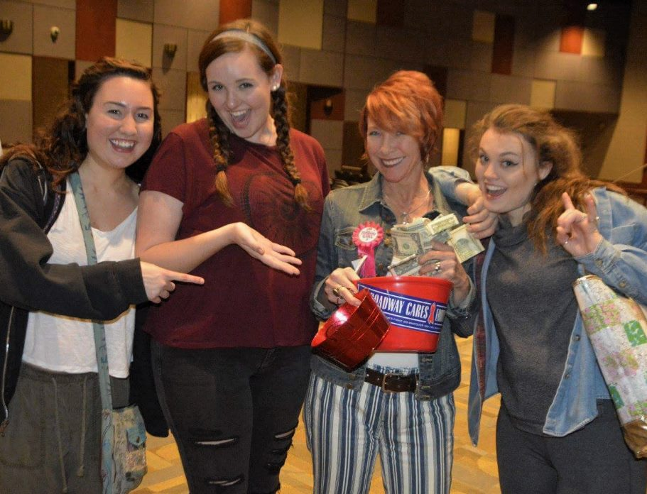 Martha Pfeiffer and her students collecting for Broadway Cares