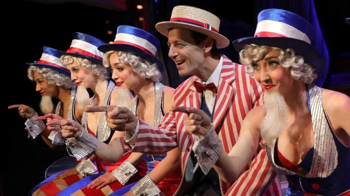 """David Lutken and some tap-dancing Uncle Sams in """"The Will Rogers Follies,"""" through June 21 at the Goodspeed Opera House. (Diane Sobolewski)"""