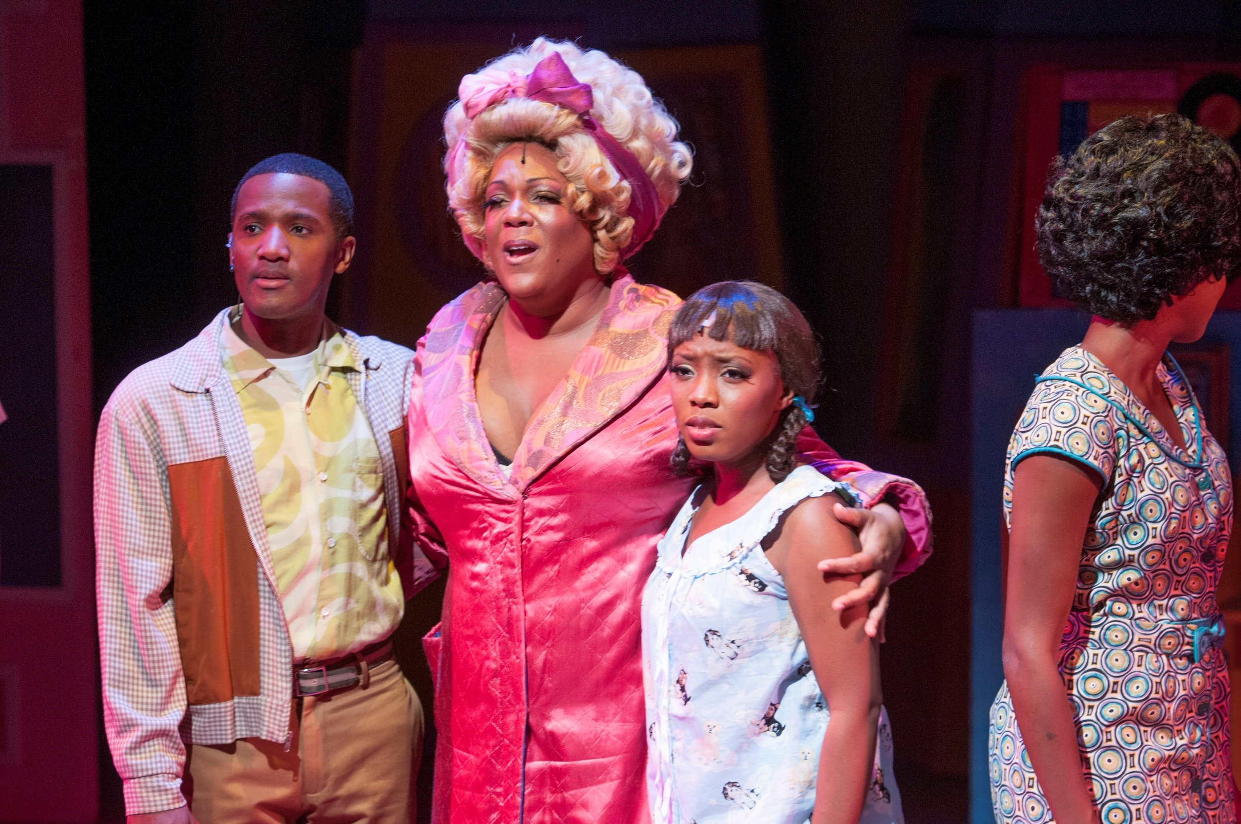 "From left, Melvin Brandon Logan as Seaweed, Jennifer Fouché as Motormouth Maybelle, and Tavia Riveé as Little Inez in Florida Studio Theatre's production of ""Hairspray."" Maria Lyle Photo"