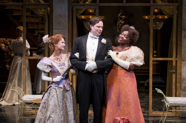 From left: Jonelle Gunderson as Mrs. Margaret Marchmont, Brad Hodder as Lord Arthur Goring and Déjah Dixon-Green as Lady Olivia Basildon in An Ideal Husband. (Emily Cooper)