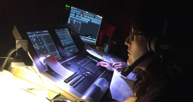 Backstage at 24 Hour Plays: Caoimhe Regan at her desk. Photograph: Peter Crawley