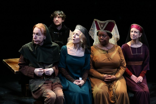 "Photo: Timothy Doyle, Vance Barton, Ginger Grace, LaTonya Borsay and Pippa Pearthree in ""The Saintliness of Margery Kempe."" Credit: Carol Rosegg."