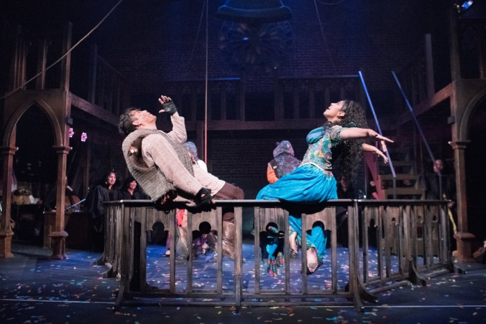 Quasimodo (Alex Rodriguez) and Esmerelda (Alysia Beltran) are on top of the world in the bell-tower of Notre Dame.Photo credits by Ben Krantz.