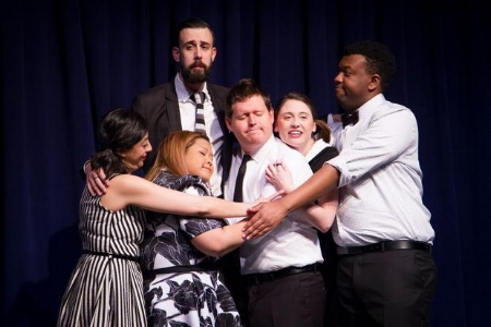 """The cast of Second City's """"Everything Is Great Again"""" needs a group hug. From left: Paloma Nuñez, Colin Munch, Ann Pornel, Devon Hyland, Lindsay Mullan, Brandon Hackett.(Paul Aihoshi)"""