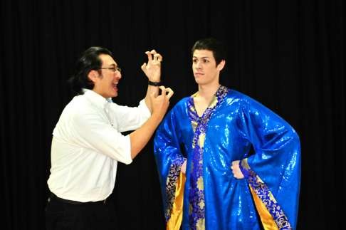 """Keon Woong Lee as DHH and Alan M as Marcus in David Henry Hwang's play """"Yellow Face""""."""
