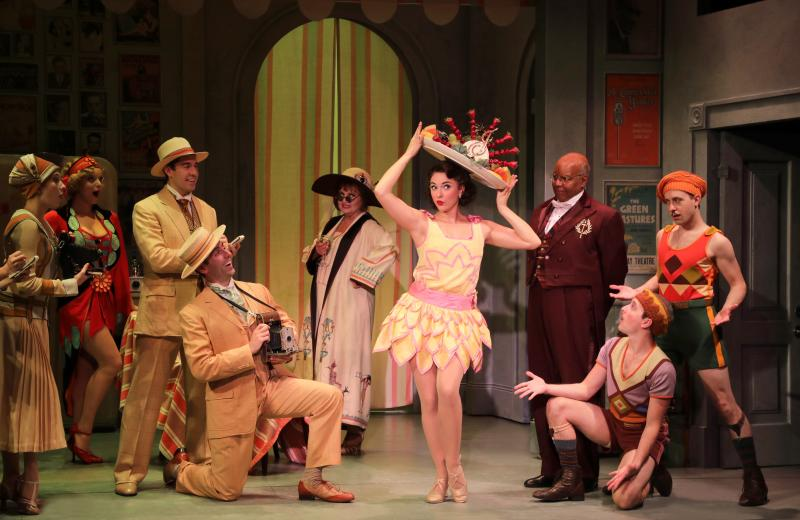 Stephanie Rothenberg (Janet Van de Graaf) with the cast of Goodspeed Musicals' The Drowsy Chaperone, now playing at The Goodspeed through November 25. Photo by Diane Sobolewski.