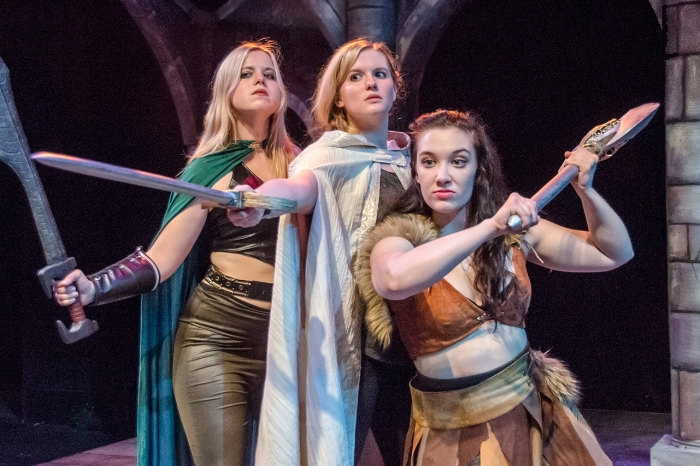 Allison Brogan (as Kaliope), Kimberly Martin (as Tilly), and Laura Crone (as Lilith) (l to r) in Available Light's production of She Kills Monsters. Photo by Matt Slaybaugh.