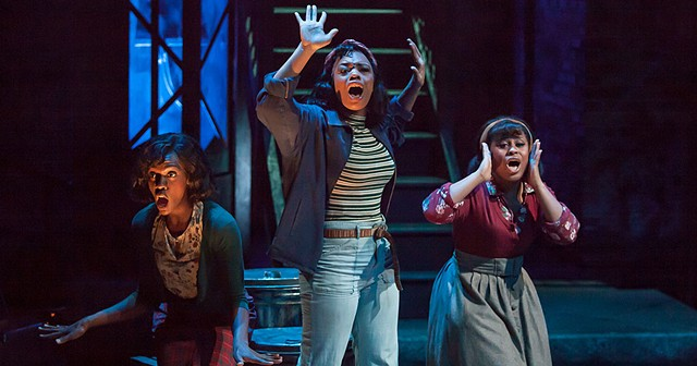 Alexis Tidwell, Johari Nandi Mackey and Ebony Blake as the Urchins in Little Shop of Horrors