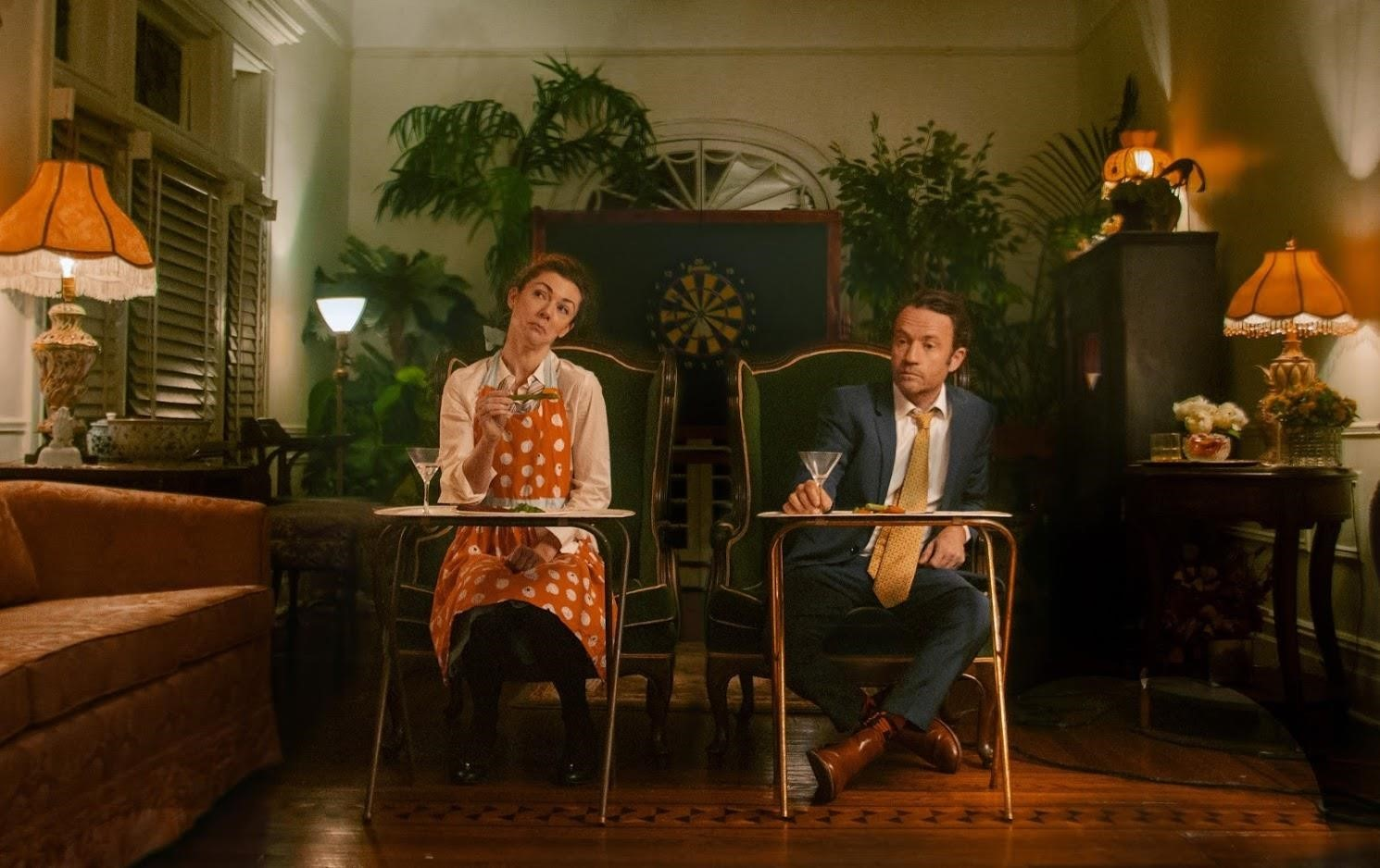 "Tracy Weller and Devin Burnam star in Mason Holding's production of ""Consumption."" The immersive site-specific play takes place in several rooms of the historic Beverly Social Club in Ditmas Park, Brooklyn. Photo by Trey Pentecost."
