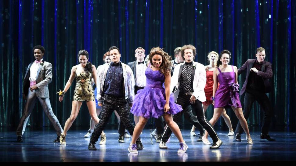 """Becca Lee (Gold Dress) and the cast of """"The Prom"""" (Greg Mooney)"""