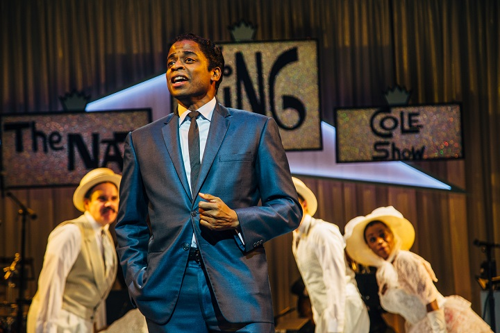 "Dulé Hill as Nat King Cole in the West Coast premiere of Lights Out: Nat ""King"" Cole at Geffen Playhouse. Photo by Jeff Lorch"