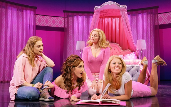 CAPTION: Erika Henningsen, Krystina Alabado, Taylor Louderman and Kate Rockwell in  Mean Girls  (photo by Joan Marcus)