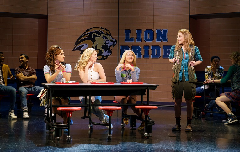 CAPTION: Krystina Alabado, Taylor Louderman, Kate Rockwell, Erika Henningsen and company in  Mean Girls  (photo by Joan Marcus)