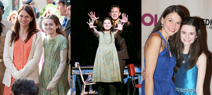 Left: performing on The Today Show with Sutton Foster and the cast of Violet (photo by  Dia Dipasupil ), center: onstage with costar Ben Davis (photo by  Joan Marcus ), right: on the red carpet opening night with Sutton ( Bruce Glikas )