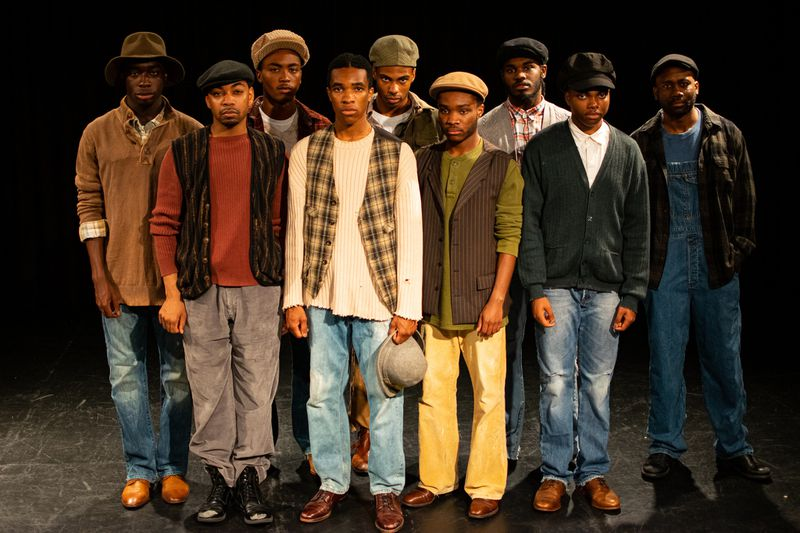 "Nine men are accused of a crime they did not commit in ""The Scottsboro Boys"" at Playhouse in the Park in West Hartford June 26 to Aug. 4. (Meredith Longo)"