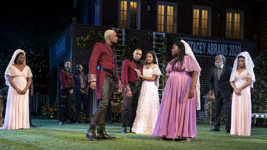 Center, from left: Grantham Coleman, Jeremie Harris, Margaret Odette, Danielle Brooks and company in 'Much Ado About Nothing' (Joan Marcus)