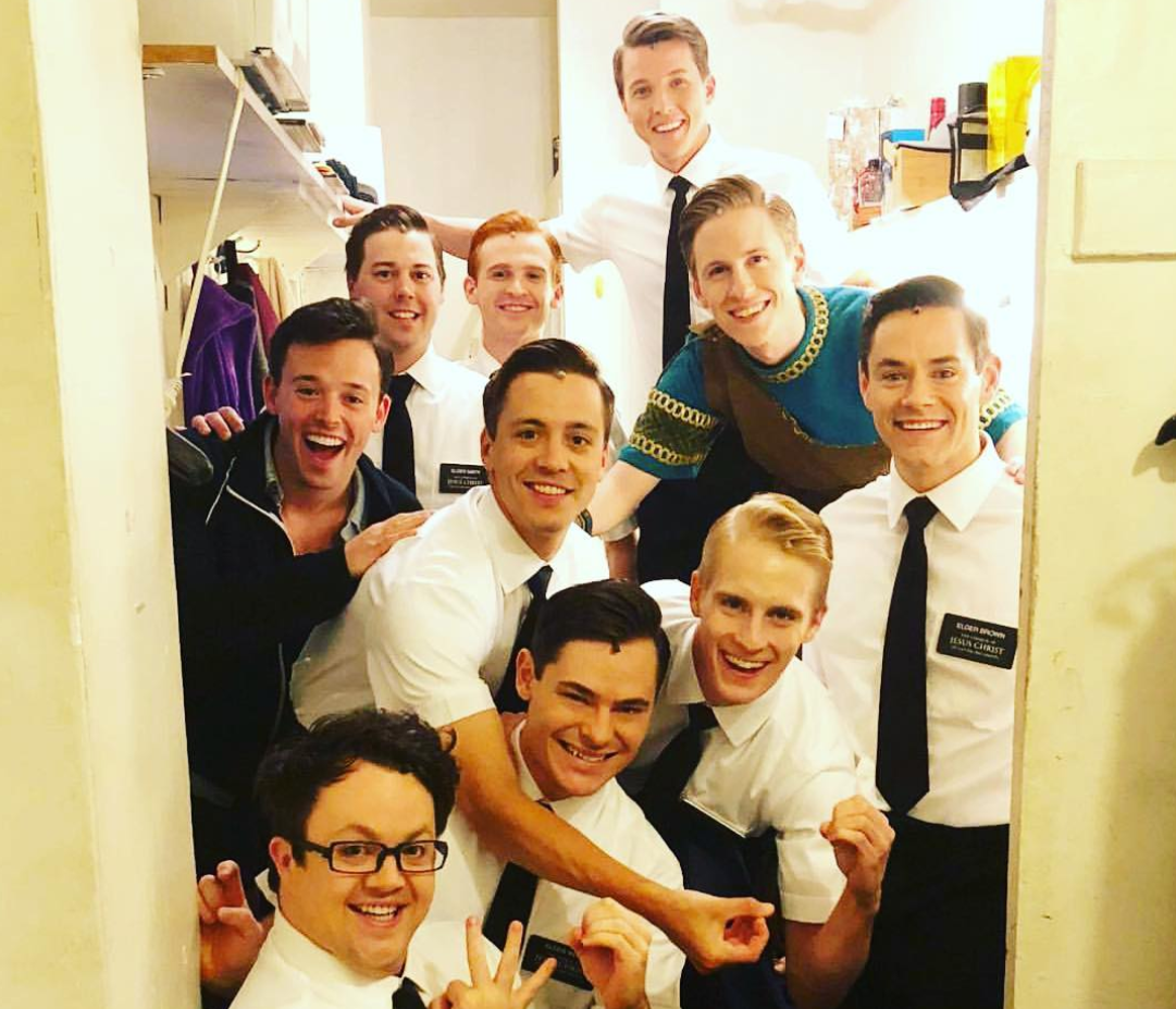 Matthew Marks and the cast of  The Book of Mormon