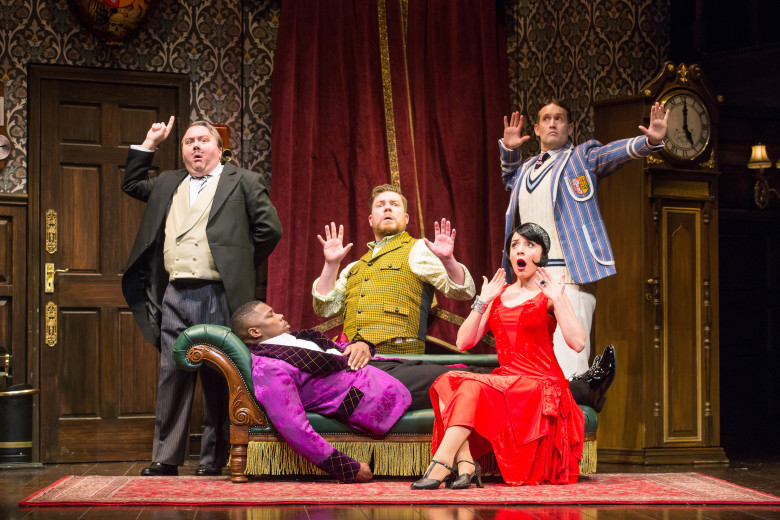 """The company of the national tour of """"The Play That Goes Wrong."""" Written by Henry Lewis, Jonathan Sayer and Henry Shields and directed by Mark Bell, """"The Play That Goes Wrong"""" presented by Center Theatre Group at the Ahmanson Theatre July 9 through August 11, 2019. Photo by Jeremy Daniel"""