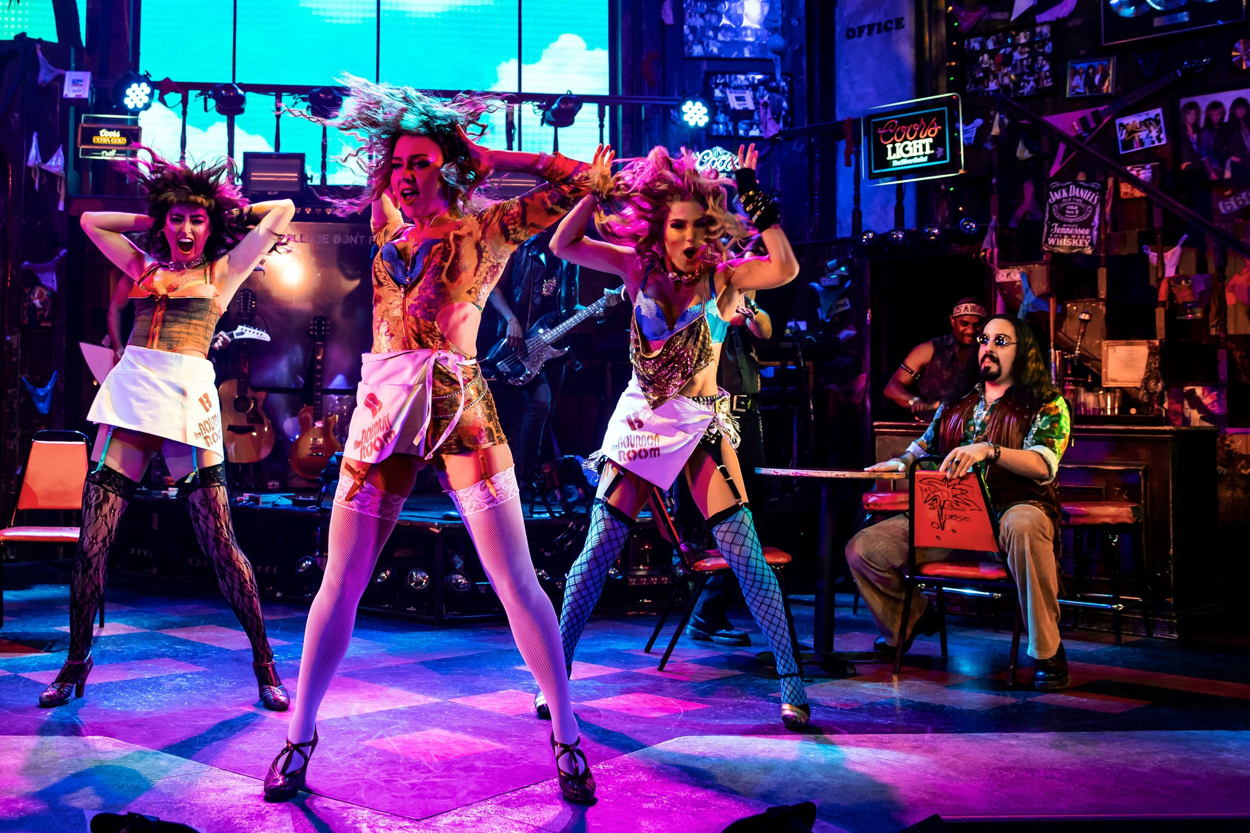 Ashley E. Matthews, Leah Read, Katie Webber and Matt Ban in Rock of Ages (photo by Matthew Murphy)