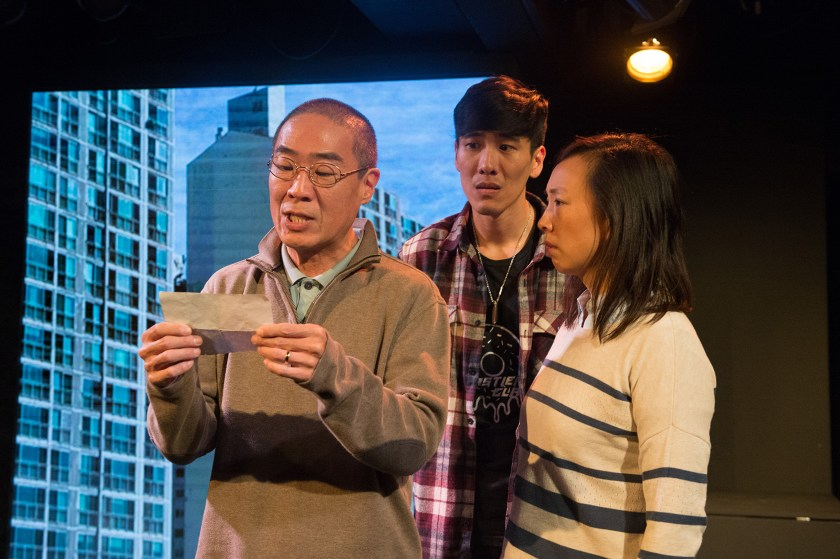 """Hahn Cho, left, Gavin Lee and Monica Hong in """"Hannah and the Dread Gazebo"""" at the Fountain Theatre. (Jenny Graham)"""