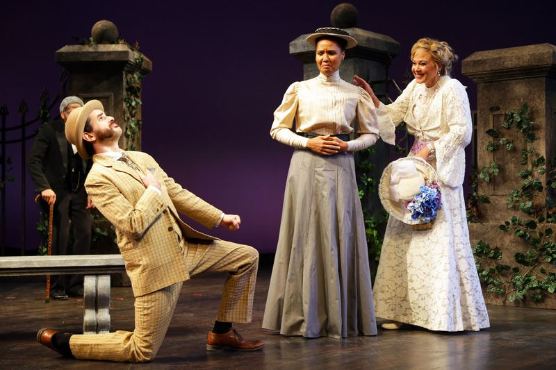 """From left: Nikolai Fernandez as Lopakhin, Alex Campbell as Varya and Caralyn Kozlowski as Ranevskaya in """"The Cherry Orchard"""" at Connecticut Repertory Theatre through October 13. (Gerry Goodstein / HANDOUT)"""