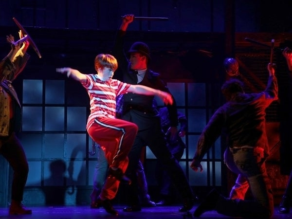 Liam Vincent Hutt as Billy Elliot with the cast of Goodspeed Musicals' Billy Elliot The Musical, now playing at The Goodspeed through November 24. (Photo by Diane Sobolewski. )