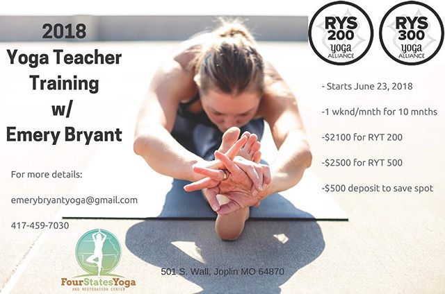 #yogateachertraining 2018 🧘‍♀️🧘‍♂️@4statesyoga_joplin kicks off in 3️⃣weeks! Comment below to receive an Information Packet.