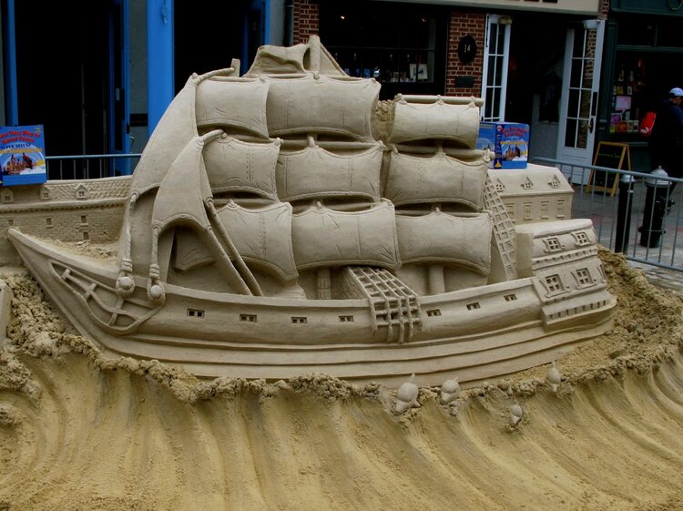 """""""Sailing Ship Sand Sculpture On South Street""""   NYC"""