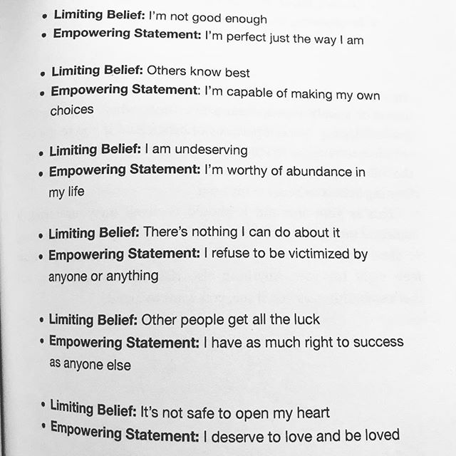 "Limiting beliefs and empowering statements to repeat as affirmations from ""The Old Soul's Guidebook"" by Ainslie MacLeod @ainslie_macleod. Healing words have the power to transform. There was a time when I was repeating affirmations hundreds of times a day in my head. With practice my limiting beliefs changed. Do any of these resonate with you? Limiting Belief: I'm not good enough Empowering Statement: I'm perfect just the way I am ▫️ Limiting Belief: Others know best Empowering Statement: I'm capable of making my own choices ▫️ Limiting Belief: I am undeserving Empowering Statement: I'm worthy of abundance in my life ▫️ Limiting Belief: There's nothing I can do about it  Empowering Statement: I refuse to be victimized by anyone or anything ▫️ Limiting Belief: Other people get all the luck Empowering Statement: I have as much right to success as anyone else ▫️ Limiting Belief: It's not safe to open my heart Empowering Statement: I deserve to love and be loved #affirmations #mantras #empoweringquotes #selflove #healingenergy #ainsliemacleod #mindfulliving #selfhealing #healers #spiritguides #mentalwellness #selfcompassion #mentalwellbeing #selfloveclub #bekindtoyourself #iamenough"