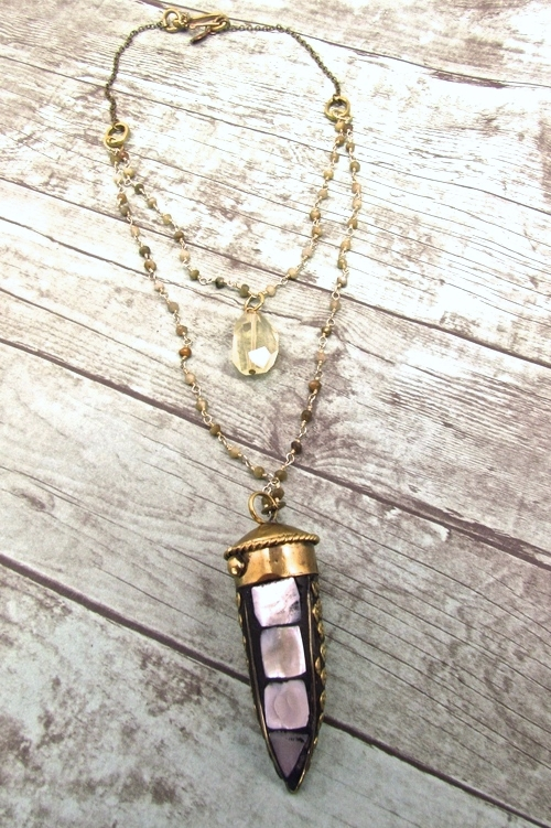 Handmade Tusk Pendant Necklace, Handmade Boho Jewelry