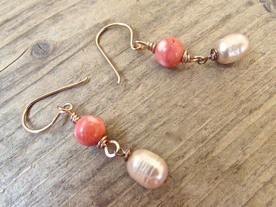 Handmade Coral Earrings, Handmade Boho Jewelry