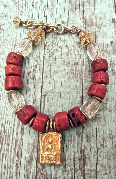 Red Coral and Citrine Buddha Meditation Bracelet